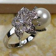 Комплект: кольцо и кулон. Серебро. Жемчуг.